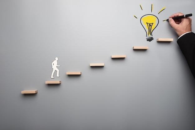 Paper cutout shape of a man climbing wooden steps upwards towards yellow hand drawn light bulb drawn by male hand.