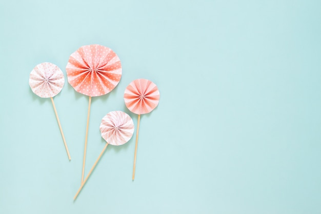 Paper decoration on pastel color background with copy space