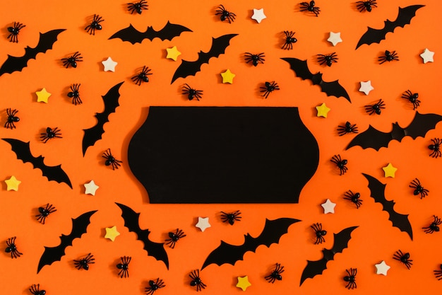 Paper decorative bats, spiders and stars