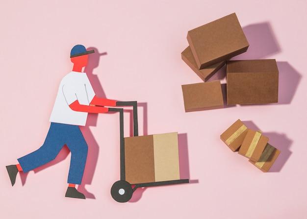 종이 배달 남자 운반 상자