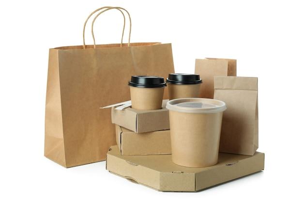 白で隔離の紙使い捨て食器