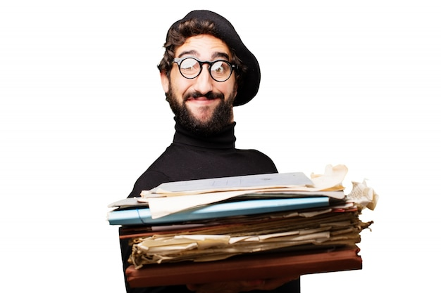 Paper document beard cool young