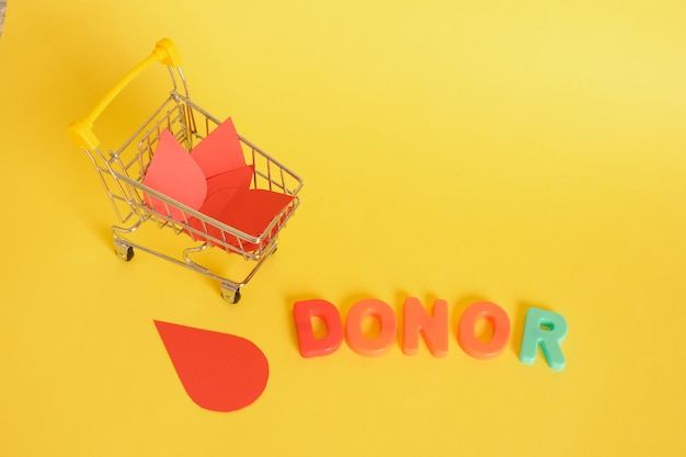 Paper drops of blood and shopping cart and inscription donor on yellow