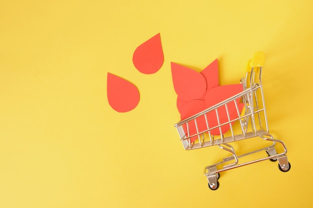 Paper drops of blood and shopping trolley on yellow