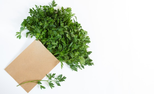 Paper eco bag with fresh parsley isolated on white background, overhead view
