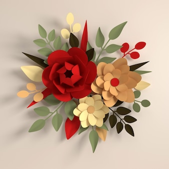 ベージュの紙のエレガントなカラフルな花