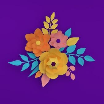 보라색 배경에 종이 우아한 화려한 꽃