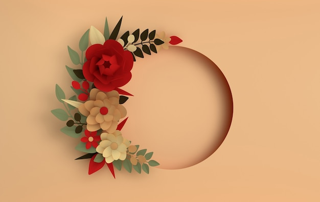 ベージュの紙のエレガントな濃い赤の花