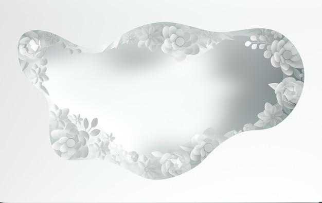 紙のエレガントな花と紙の穴の層