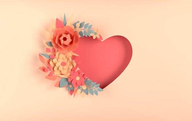 베이지 색 배경에 종이 우아한 꽃