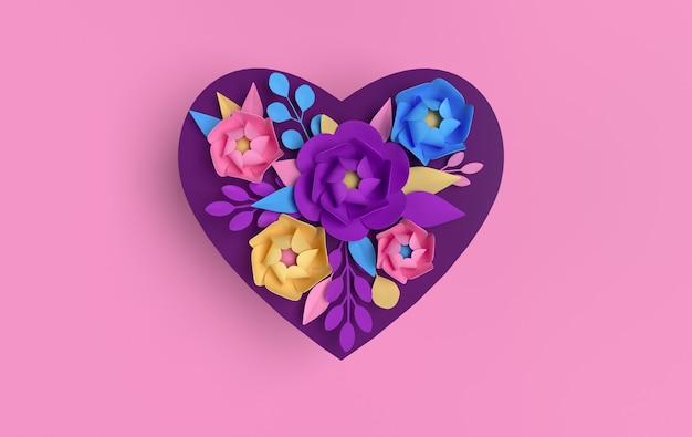 Бумажные элегантные цветы на розовой форме сердца