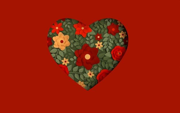 빨간색 배경에 종이 우아한 꽃