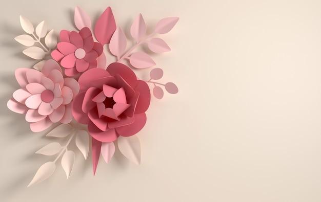 베이지색 배경에 종이 우아한 파스텔 컬러 꽃