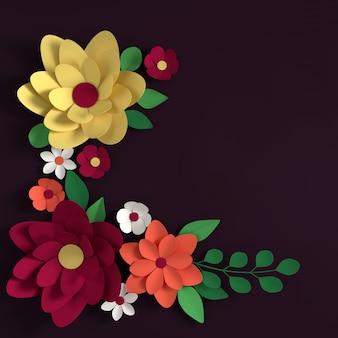 暗い背景に紙のエレガントなパステルカラーの花