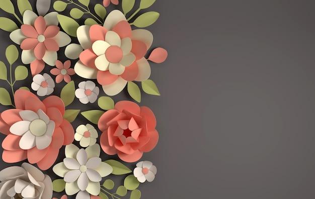暗い上にエレガントなパステルカラーの花を紙