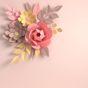 白の紙のエレガントなパステルカラーの花