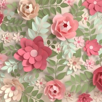 紙のエレガントなパステルカラーの花