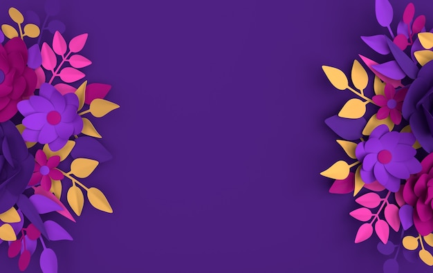 紙のエレガントな白い花と葉の花の折り紙