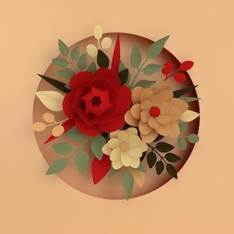 ベージュの紙のエレガントな白い花と葉