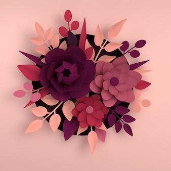 ピンクの背景にエレガントな白い花と葉を紙