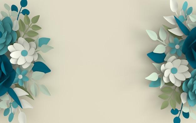 紙のエレガントな白い花と葉のレンダリング