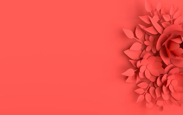 紙のエレガントな白い花と葉