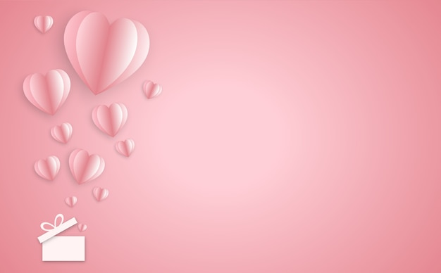 Paper elements in shape of heart on pink background