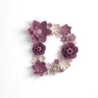 종이 꽃 알파벳 문자 d 3d 렌더링