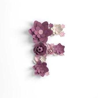 종이 꽃 알파벳 문자 f 3d 렌더링