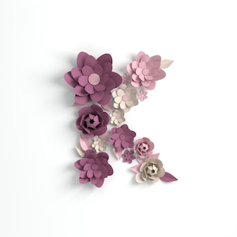 종이 꽃 알파벳 문자 k 3d 렌더링