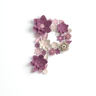 종이 꽃 알파벳 편지 p 3d 렌더링