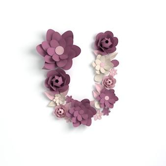 Paper flower alphabet letter u 3d render
