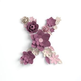 종이 꽃 알파벳 문자 x 3d 렌더링