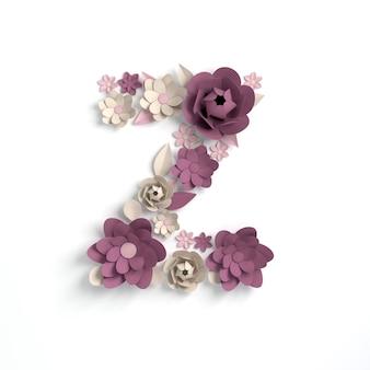 종이 꽃 알파벳 문자 z 3d 렌더링