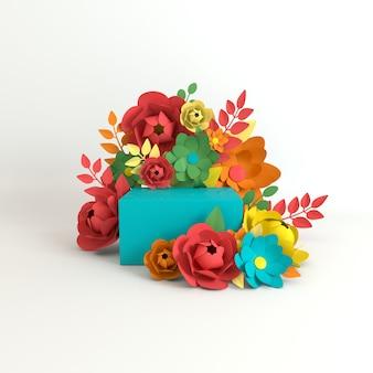 제품 프레젠테이션을 위한 종이 꽃과 잎 프레임 연단 플랫폼 프리미엄 사진