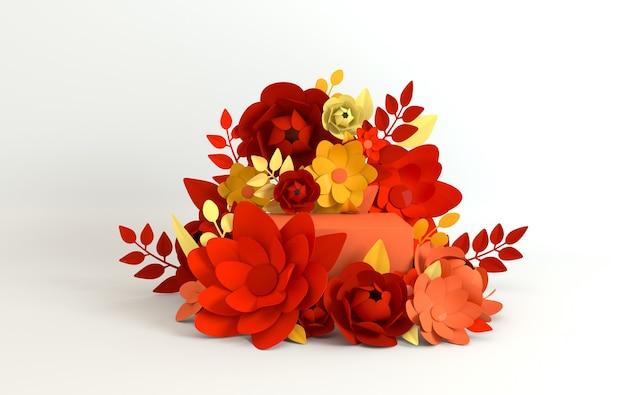 紙の花と葉のフレーム、製品プレゼンテーション用の表彰台プラットフォーム
