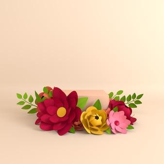 製品プレゼンテーション用の紙の花と葉のフレーム表彰台プラットフォーム