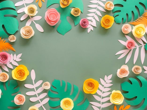 Paper flowers and leaves decorations