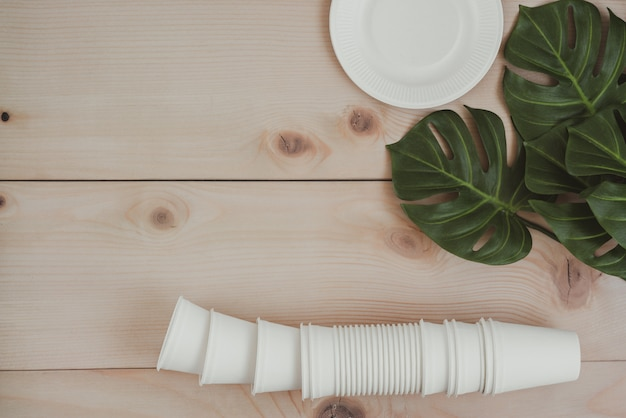 Paper food packaging, eco friendly disposable, compostable, recyclable paper cups and plate with plant branches on wooden background.