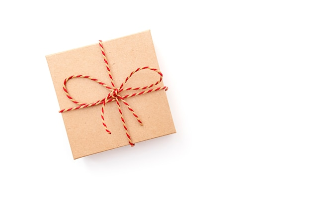 Paper gift box with ribbon isolated