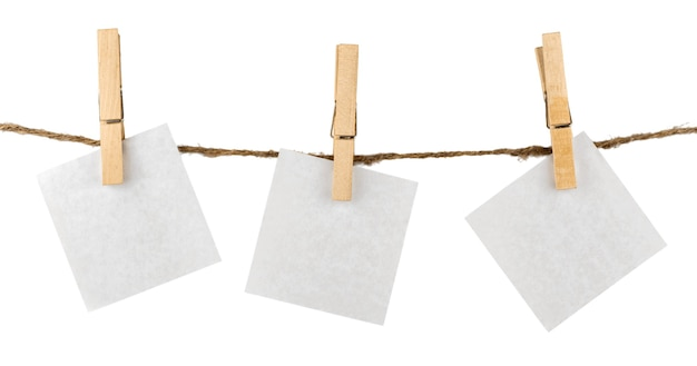 Paper hanging on clothesline with clipping path