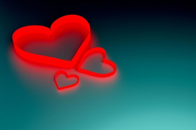 青い表面に紙のハート、バレンタインデーのコンセプト、3dイラストレンダリング