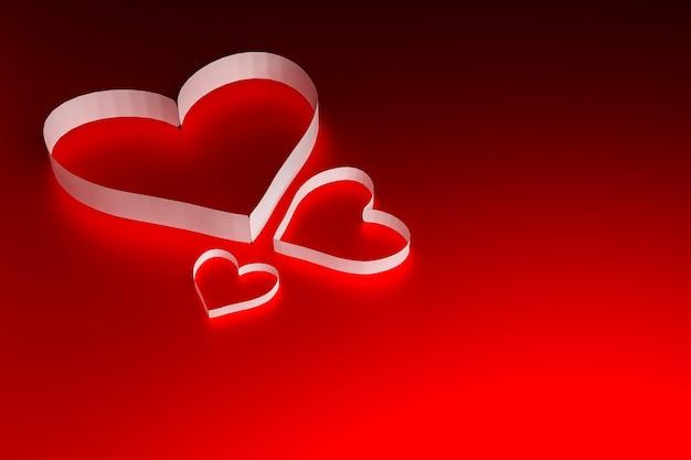 赤い表面に紙のハート、バレンタインデーのコンセプト、3dイラストレンダリング