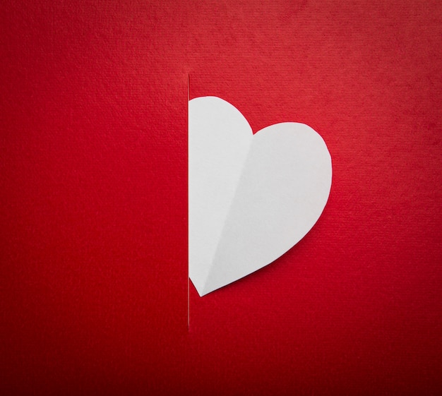 Paper  heart shape symbol for valentines day  with copy space fo