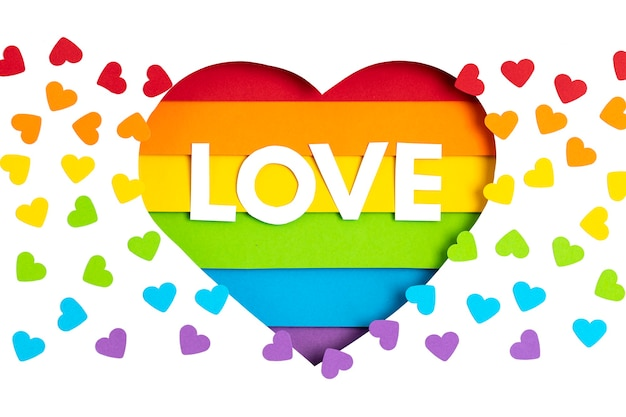 Paper heart with rainbow color stripes symbol of lgbt gay pride. love, diversity, tolerance, equality concept