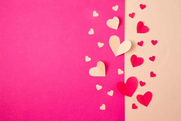Paper hearts background.
