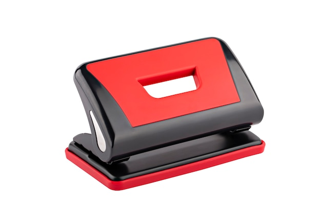 Paper hole punch black with red isolate
