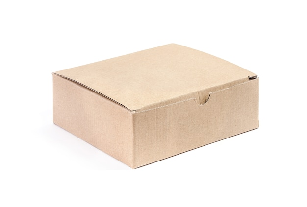 Paper kraft cardboard box isolated