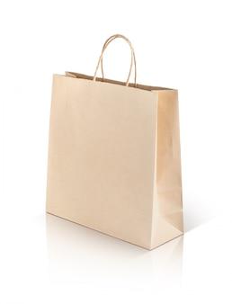 Paper kraft shopping bag isolated