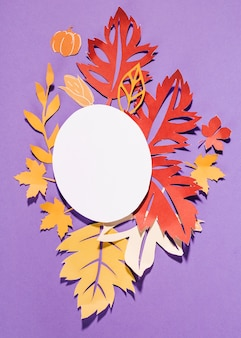Paper leaflets with oval on purple background